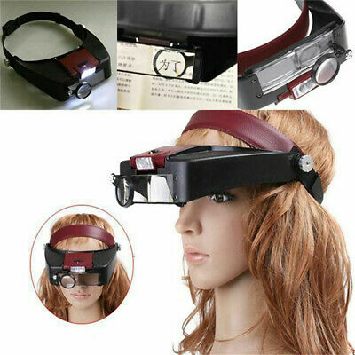 £7.29 • Buy Head Magnifying LED Glasses Headset With Light Hands Free Headband Magnifier Red