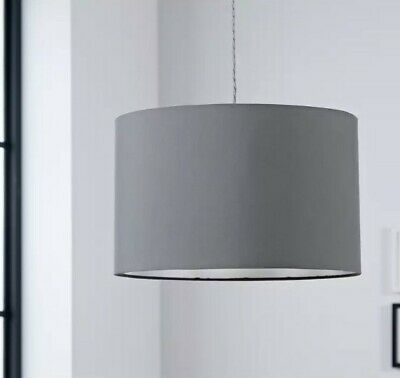 £29.99 • Buy 40cm Oversized Large Flint Grey Drum Shade Pendant For Ceiling Or Lampshade