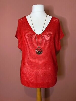 M&S Per Una Red Loose Knit V Neck Jumper UK18 Thin Slouchy • 8£