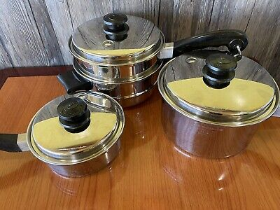 $ CDN349.88 • Buy SaladMaster 7 Piece Set 3 Qt.  Pan, 1 Qt Sauce Pan And Steamer Pot. Vintage Lot
