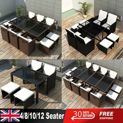 Outdoor Cube Rattan Dining Set Garden Furniture 4/8/10/12 Seater Piano Wicker • 1,042.09£
