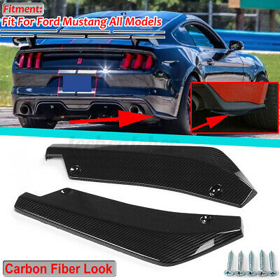 $23.99 • Buy For Ford Mustang Rear Bumper Lip Aprons Splitter Diffuser Canards Carbon Fiber