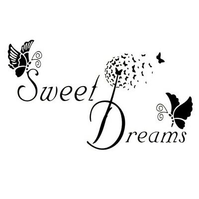 SWEET DREAMS Butterfly LOVE Quote Wall Sticker Removable Decals DIY Bedroom • 5.99£