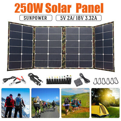 £120.20 • Buy 250W 18V Sunpower Foldable Solar Panel Charger For Laptop Phone RV Boat Camping