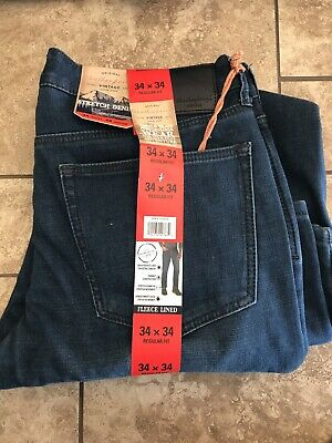 $24.50 • Buy NWT MENS 34x34 Weatherproof Vintage Flannel Lined Jeans Classic Straight Leg