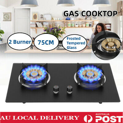 AU169.98 • Buy 4.2KW Gas Cooktop 2 Burners Frosted Tempered Glass Wok Burner Cooktop Stove 75CM