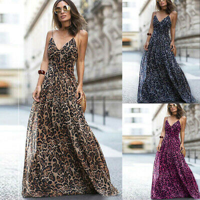 £11.99 • Buy Womens Summer Strappy V Neck Dress Ladies Holiday Leopard Print Long Maxi Dress