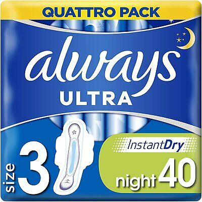 £6.70 • Buy Always Ultra Night Sanitary Towels With Wings 40 Pads Ultra Thin Size 3