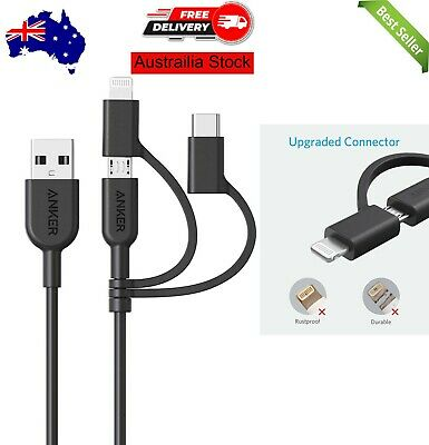 AU23.99 • Buy Anker 3-in-1 Cable, Lightning/Type C/Micro USB Cable For IPhone, IPad, HTC, LG