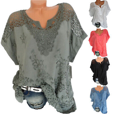 £8.99 • Buy Plus Size Womens V-Neck Lace Tops Shirt Ladies Summer Casual Blouse Pullover Tee