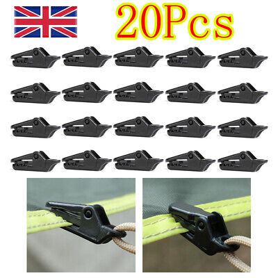 20 PCS Awning Tarp Clips Set Tent Clamp Buckle Heavy Duty Camping Tool Black  • 6.19£