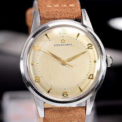 Vintage ETERNA-MATIC Automatic Cal.1249,Oversize Steel 37mm Case, 50s Mens Watch • 918.64£