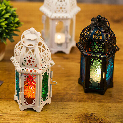 £5.89 • Buy Moroccan Hanging Multi Coloured Glass Lantern Tea Light Candle Holder Home Gift
