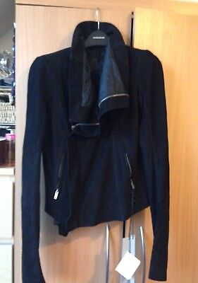 Rick Owens Black Perfecto Distressed Leather Jacket UK 10 IT 42 • 749.99£