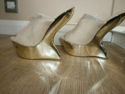 Peep Toe Curved Wedge Mules Heels Size 3 • 5.25£