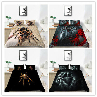 £26.99 • Buy Hot Black Spider Printing Bedding Set Quilt Cover With Pillowcases Drop Shipping