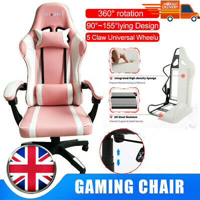 AU339.16 • Buy Pink Racing Gaming Chair Recliner PU Executive Office Swivel Computer Chair AU
