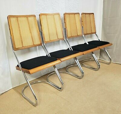 AU1800 • Buy Vintage Mid Century 70s Italian Chrome & Rattan Wicker Cantilever Dining Chairs