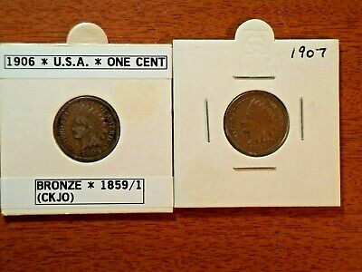 AU21.95 • Buy  1906 & 1907 Usa One Cent Indian Head Coins  In Coin Flip Holders