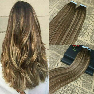 £129.99 • Buy 12a Russian Tape In Human Hair 40pcs 100g Balayage Ombre 4/27/4 Silky Straight