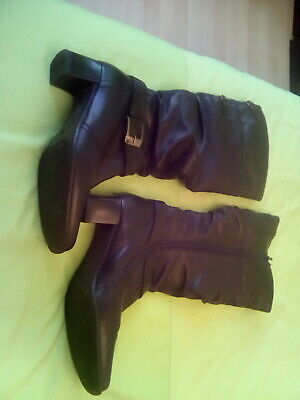 Ladies PAVERS Black Faux Leather Knee Zip Up Buckle Feature Boots Size 5 Exc,con • 11.99£