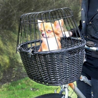 £35.72 • Buy Dog Pet Wicker Front Mounted Bicycle Basket Carrier Wire Mesh + Cushion