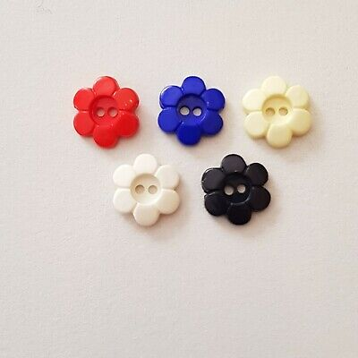 $1.95 • Buy 10 Small Navy Flower Buttons 15mm Diameter, Ideal For Crafting Or Sewing