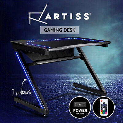 AU271.95 • Buy Artiss Gaming Desk Computer Home Office Carbon Fiber Study Style LED Racer Table
