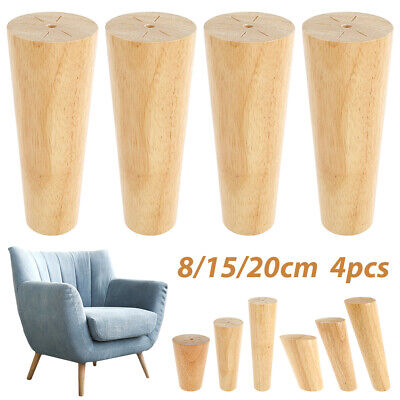 £10.59 • Buy 4pcs M8 Wooden Furniture Legs Tapered Feet For Sofa Table Chair Stool 8-20cm UK