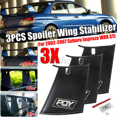 $73.58 • Buy 3PC For Subaru Impreza WRX STI 02-07 ABS Trunk Spoiler Wing Stabilizer Add On