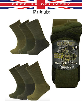 £2.99 • Buy Men's Army Military Combat Boot Hiking Padded Thermal Warm Thick Socks Size 6-11