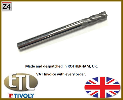 1/4  (6.35MM) Solid Carbide, 4 Flute End Mill. • 11.95£