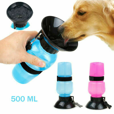 Portable Dog Cat Water Bottle Pet Dispenser Travel Feeder Bowl Outdoor 500ml UK • 4.39£