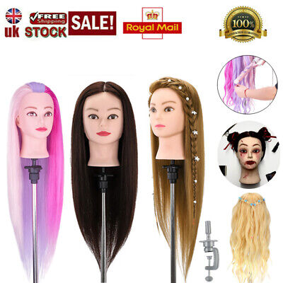 Salon Real Human Hair Training Head Hairdressing Styling Mannequin Doll + Clamp • 5.99£