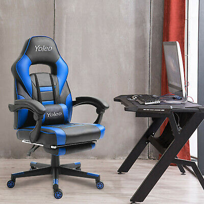 Racing Chair Home Office Gaming Chair Computer Desk PC Swivel Seat With Footrest • 88.99£