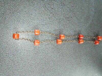 Vintage 1960's Costume Jewelry Necklace Coral Colour Beads • 10£
