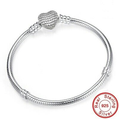 AU12.10 • Buy Authentic Pandora Silver Jewelry Chain Bracelet Heart Clasp Charm Snake Fashion