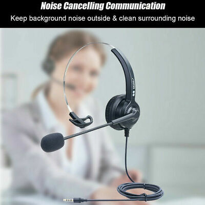 £9.39 • Buy Computer Headset Wired Over Ear Headphones For Call Center PC Laptop Skype UK
