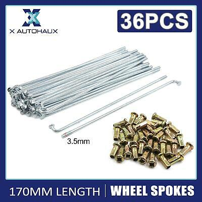 £17.99 • Buy 36 Sets Wheel Plated Spoke 170mm Length 4mm Thread Dia W/ Nipples For Motorcycle