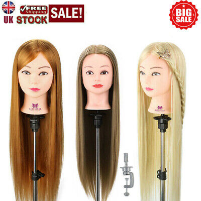 Salon Hair Styling Hairdressing Practice Doll Head Training Mannequin + Clamp • 15.99£