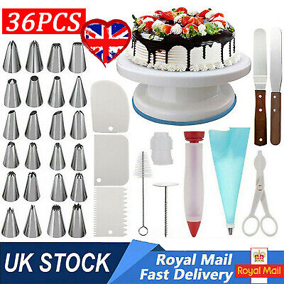 £12.46 • Buy 36X Cake Decorating Turntable Set Tools Mould Stainless Spatula Baking Nozzles ~