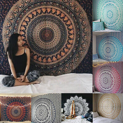 Bohemian Indian Mandala Tapestry Wall Hanging Bedspread Throw Blanket Home Mat • 10.99£