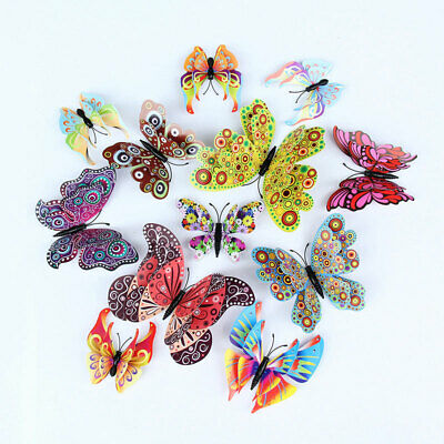 AU0.01 • Buy Double Layer 12 Pcs Set 3D  Wings Butterfly Magnet Wall Sticker Kids Party Decor