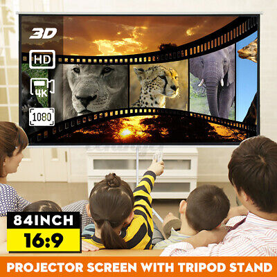 AU103.99 • Buy 84'' Portable Projector Screen Tripod Stand 3D 4K Home Outdoor Screens Camera
