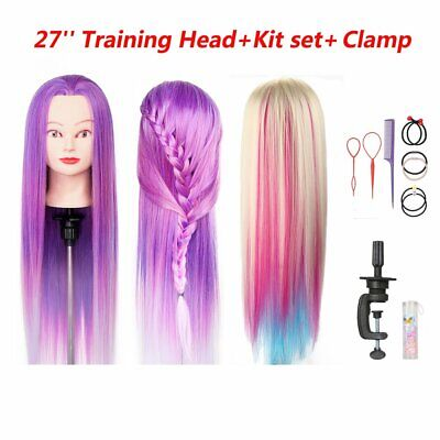 26-28  Hair Styling Hairdressing Practise Training Mannequin Head Doll Tools Set • 13.99£