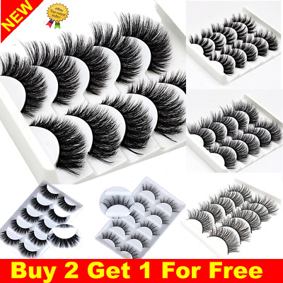 5Pairs 3D Natural False Eyelashes Long Thick Mixed Fake Eye Lashes Makeup Mink • 2.99£