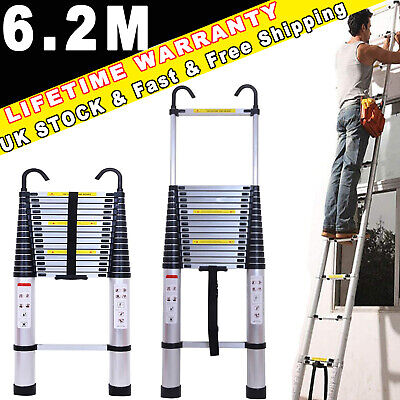 £27.39 • Buy Straight Telescopic Ladder With Detachable Hook Easy Carrying 15 Step /330lb UK