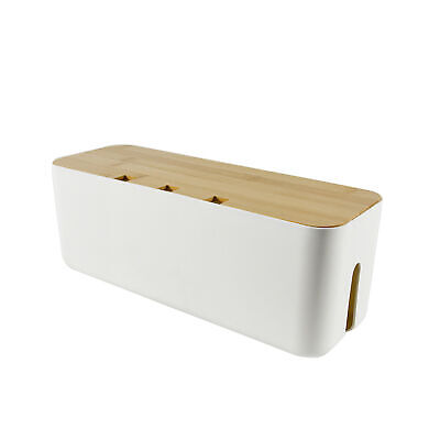 £17.77 • Buy Home Cable Management Box Entertainment Centers Power Strips Safety Bamboo Lid