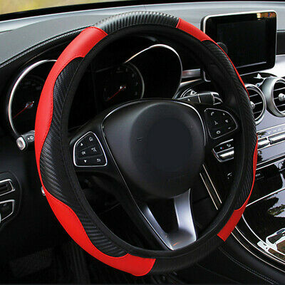 $9.62 • Buy Red Car Microfiber Leather Steering Wheel Cover 38cm/15'' Universal Accessories