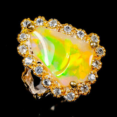 Opal Ring Silver 925 Sterling Beauty Rainbow5ct+ Size 9 /R148219 • 21.12£